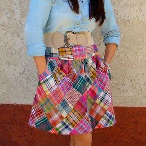 CAbi #475 Patchwork Madras Plaid Skirt